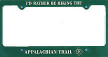 Appalachian Trail license plate frame