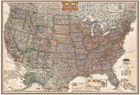 United States antique style political wall map