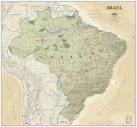 Brazil political wall map