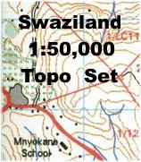 Swaziland 1:50,000 topographic map set