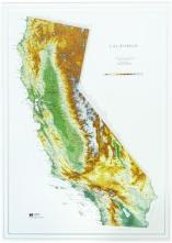 Natural Color Relief Style California State Raised Relief Map
