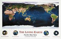 Pacific Centered Living Earth satellite map